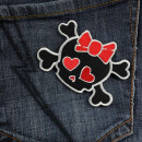 Patch - Skull with hearts - black and red