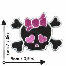 Patch - teschio con cuore - nero-rosa - toppa