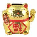 Agitando gato chino - Maneki neko - solar - 9,5 cm - oro