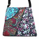 Stofftasche mit 3 Muster - türkis-lila-weiß -...
