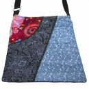 Bolso de tela con 3 patrones - rojo-negro-azul - bolso de...