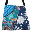 Bolso de tela con 3 patrones - azul claro-turquesa-azul...