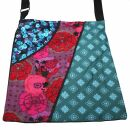 Cloth bag - Three different Floral Designs - turquoise,...