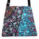 Stofftasche mit 3 Muster - magenta-dunkelblau-türkis...