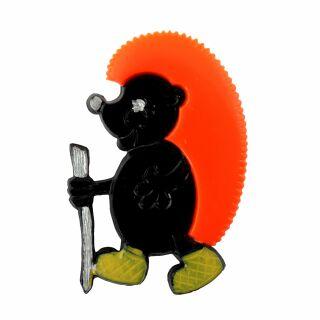 Spilla - riccio - nero - fermaglio DDR