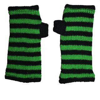 Warmhaltende Armstulpen - schwarz-grün gestreift - Stulpen