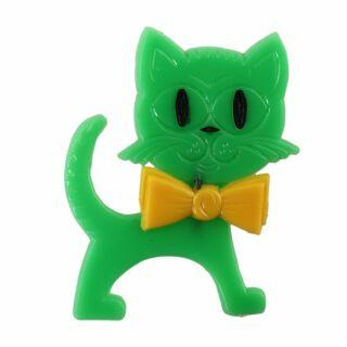 Spilla - gatto - verde-giallo - fermaglio DDR