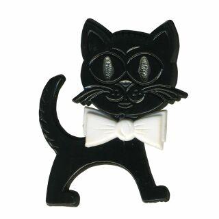 Broche - Gato - negro-blanco - Pin