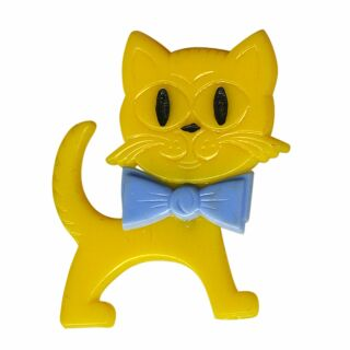 Spilla - gatto - giallo-blu - fermaglio DDR