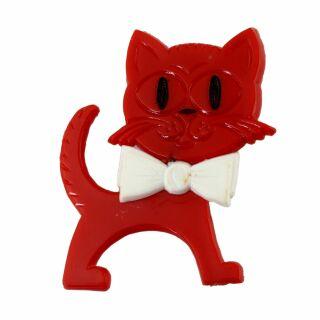 Spilla - gatto - rosso-bianco - fermaglio DDR