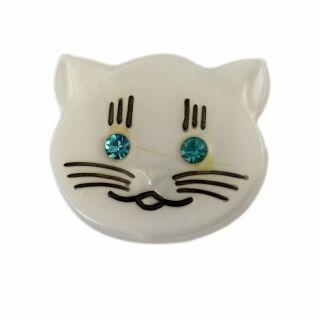 Broche - Gato Cabeza - verde - Pin