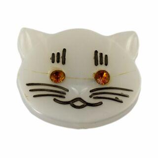 Broche - Gato Cabeza - naranja - Pin