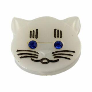 Spilla - testa di gatto - blu - fermaglio DDR
