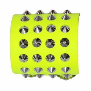 Leather bracelet with studs - Bracelet with spiked rivets 4-row - neon-yellow