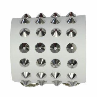 Braccialetto con borchie 4-file - bianco - Bracciale di pelle
