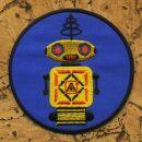 Aufnäher - Roboter - gelb und blau 8 cm - Patch