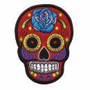 Parche - Calavera Mexico con Rosa - rojo-azul