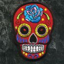 Patch - Skull Mexico with Rose - red-blue