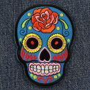 Patch - Skull Mexico with Rose - blue-orange
