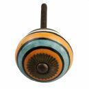 Ceramic door knob shabby chic - Stripes -...