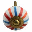 Ceramic door knob shabby chic - Stripes - orange-red-blue