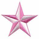 Aufnäher - Stern - weiß-rosa - Patch