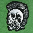 Patch - Skull with Mohawk - black-white