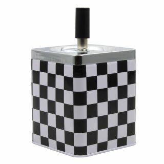 Aschenbecher eckig - Karomuster - schwarz-weiß - aus Metall