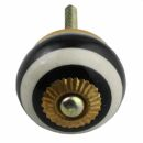 Ceramic door knob shabby chic - Stripes broad - black-white