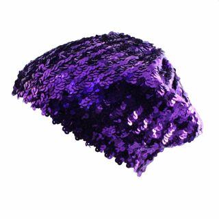 Sequin Cap - purple - elastic bonnet