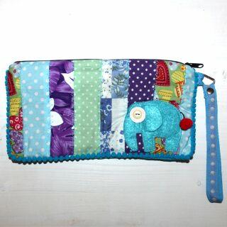 Federmäppchen aus Baumwolle - Elefant klein - Patchwork Muster 02 - Schlampermäppchen