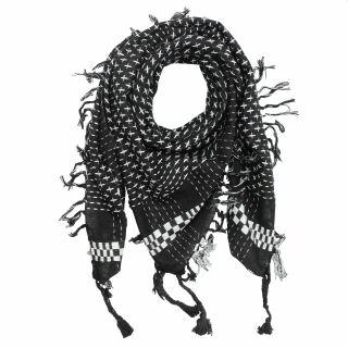 Baumwolltuch im Pali-Stil - Kreuzmuster - schwarz - weiß - Palituch - Halstuch
