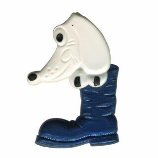 Spilla - cane con la scarpa - blu - fermaglio DDR