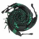 Kufiya style scarf - cross pattern - black - green -...