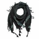 Kufiya style scarf - cross pattern - black - olive-green...