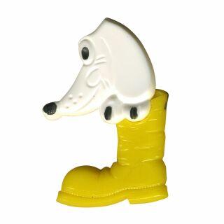 Anstecker - Hund im Schuh - gelb - DDR Anstecknadel