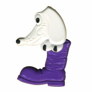 Anstecker - Hund im Schuh - lila - DDR Anstecknadel