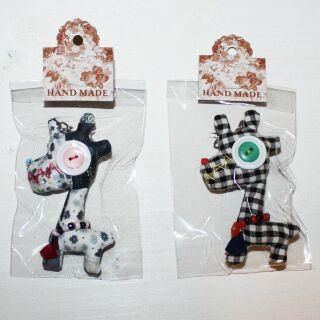 Tier-Anhänger mit Knopfaugen - Giraffe - 2er Set - 01 - Tierpüppchen