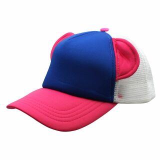 Basecap - mit Ohren - blau-pink-weiß - Baseball Cap