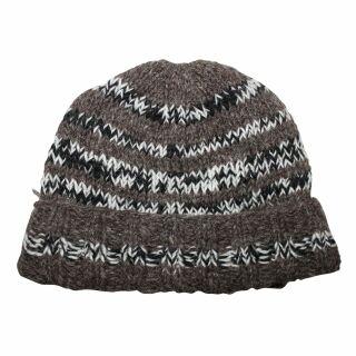 Wollmütze gestreift - dunkelgrau - schwarz-weiß - warme Strickmütze