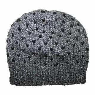 Wollmütze mit Muster - grau - schwarz - warme Strickmütze
