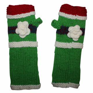 Armstulpen aus Wolle - Strickstulpen - grün mit Blume und Streifen - Pulswärmer mit Fleece