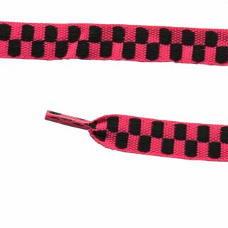 Cordón de Zapatos - fucsia-negro cuadriculado - aprox. 110 x 1 cm