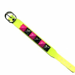 Leather-Bracelet with pyramid studs 1-row - neon-yellow 3