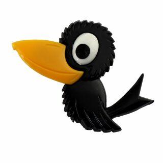 Spilla - uccello - nero - fermaglio GDR