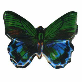 Blechanstecker - Schmetterling grün-blau - Anstecker aus Blech