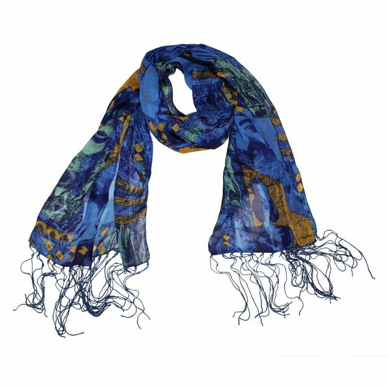 schal muster mit gesicht blau grn gelb 40x160 cm halstuch - Schal Muster