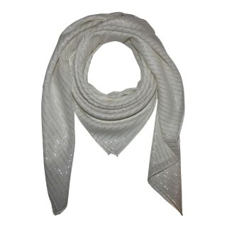 Cotton scarf - nature Lurex silver - squared kerchief