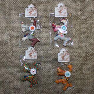 Tier-Anhänger mit Knopfaugen - Lustiger Hund - 4er Set - 01 - Tierpüppchen
