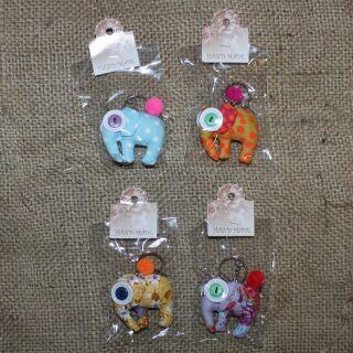 Tier-Anhänger mit Knopfaugen - Elefant - 4er Set - 05 - Tierpüppchen